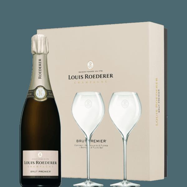 champagne Louis Roederer brut premier coffret 2 flutes