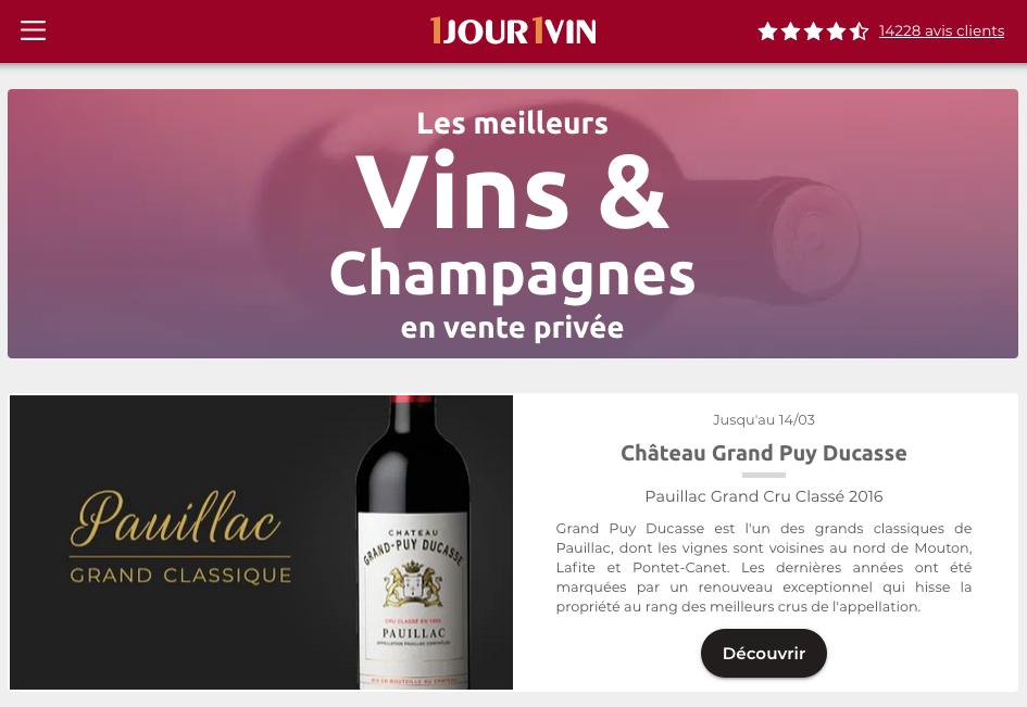 Le site de vente privée de vin 1jour1vin