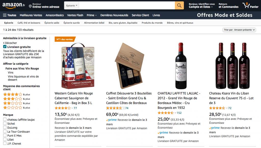 L'offre vin d'Amazon