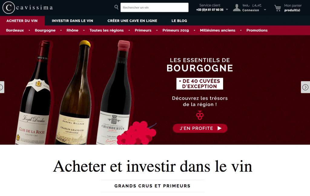 Site d'investissement dans le vin Cavissima
