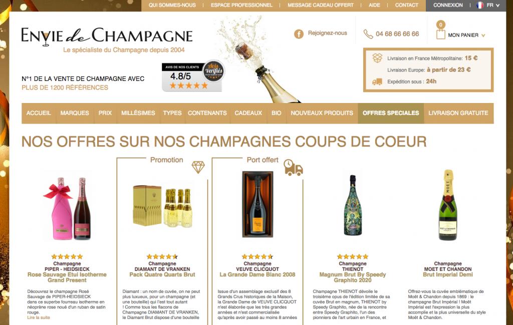 SIte de vente de champagne en ligne Envie de Champ