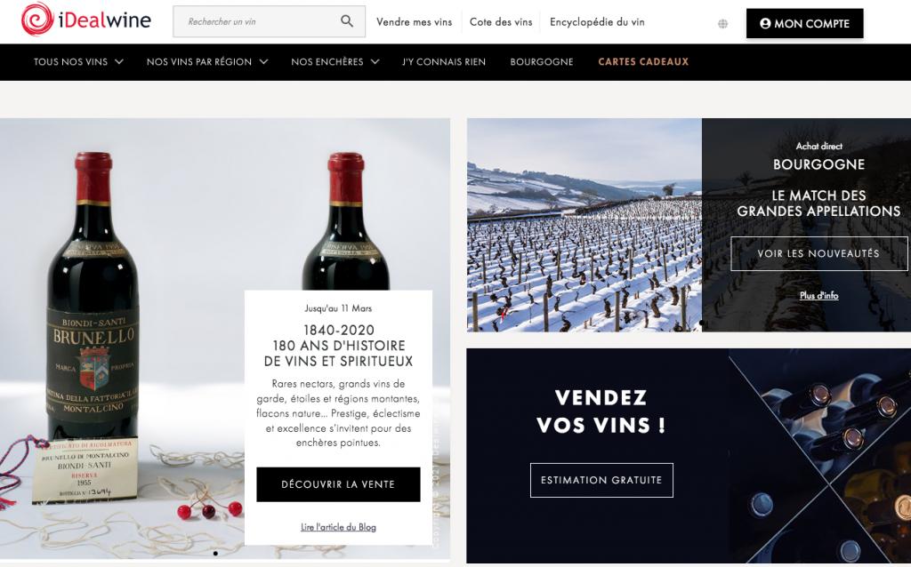 Site de vente aux enchères de vin Idealwine