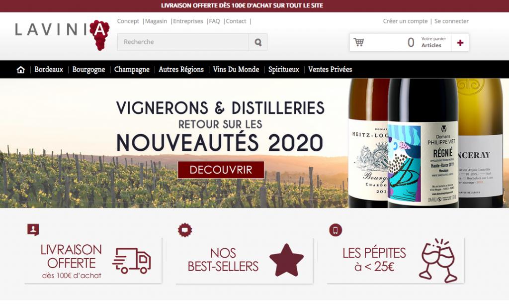Le site de vin en ligne Lavinia