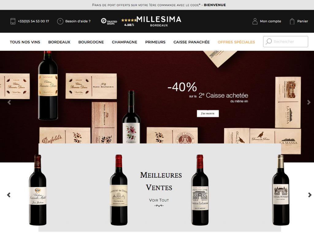 Le site de vente de vin en ligne Millesima