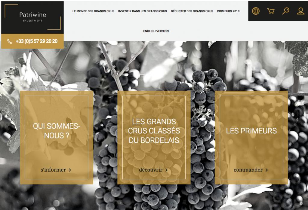 SIte d'investissment dans le vin Patriwine