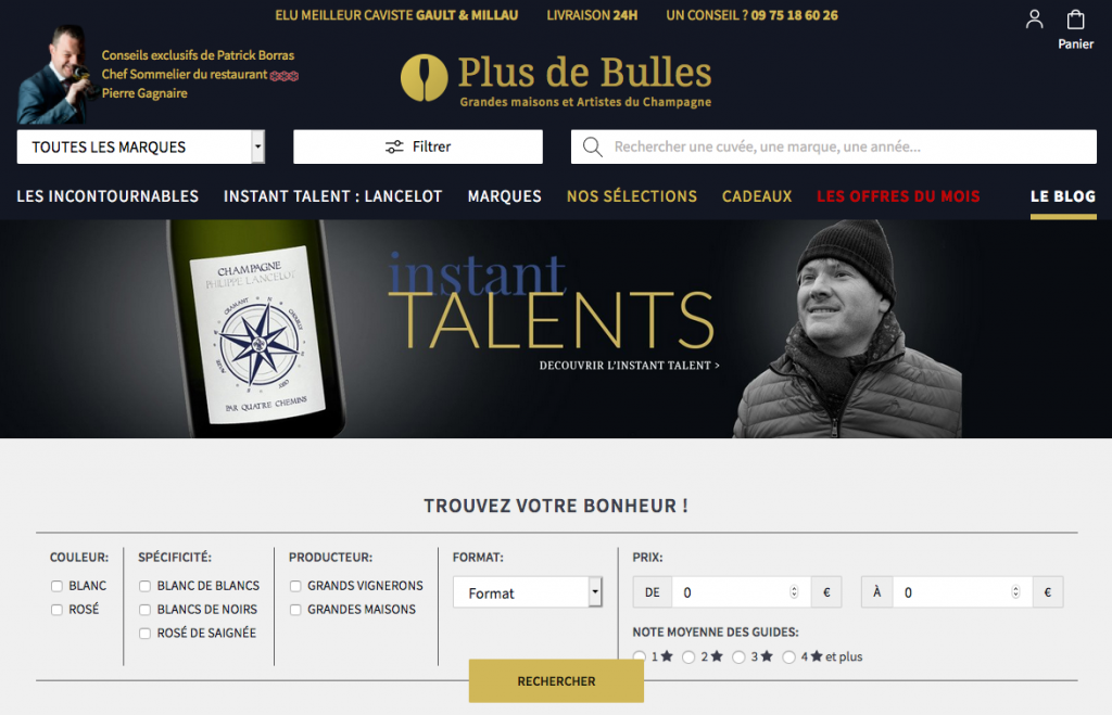 Site de vente de champagne en ligne Plus de bulles