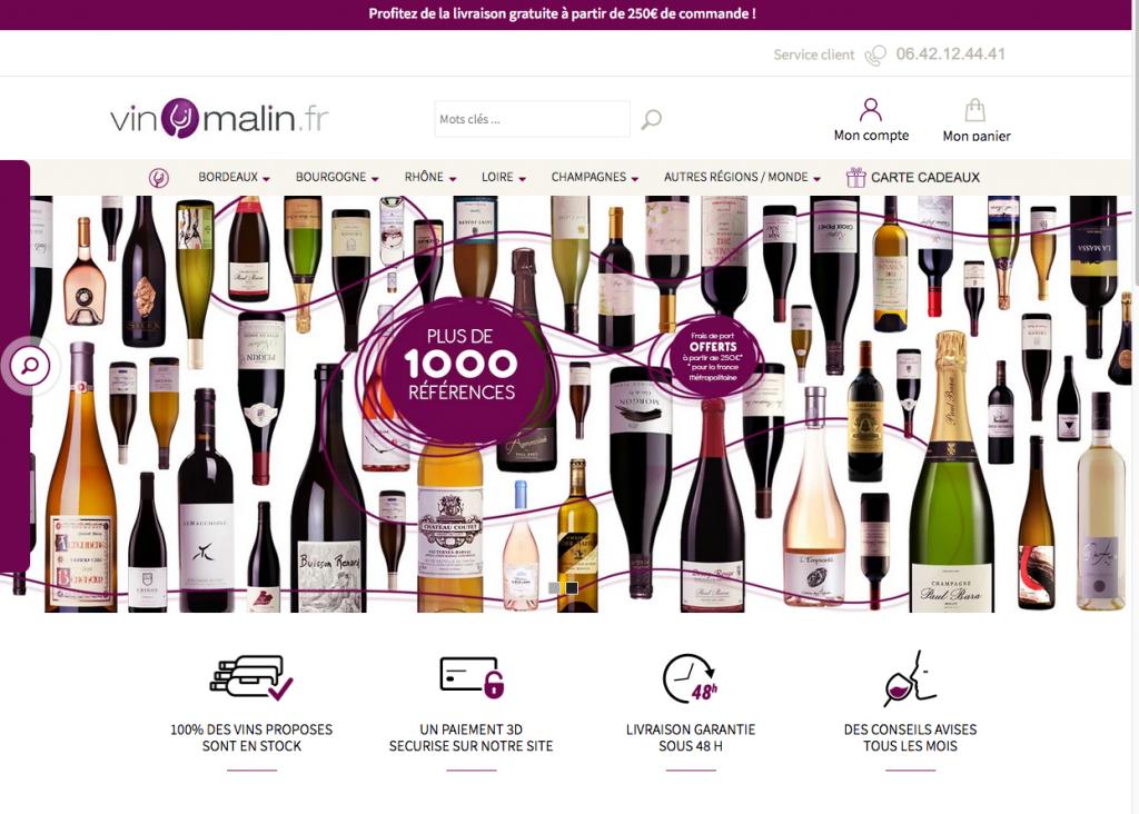 Le site de vente de vin en ligne Vinmalin.fr