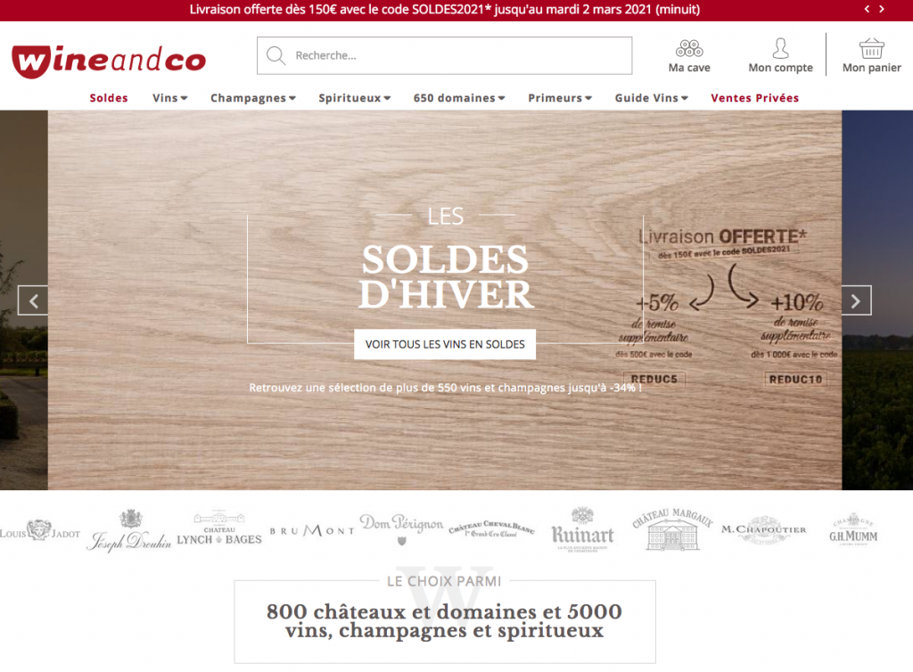 Site de vente de vin en ligne Wineandco